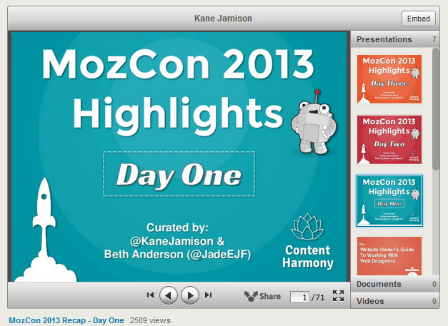 MozCon 2013 Slideshare HIghlights