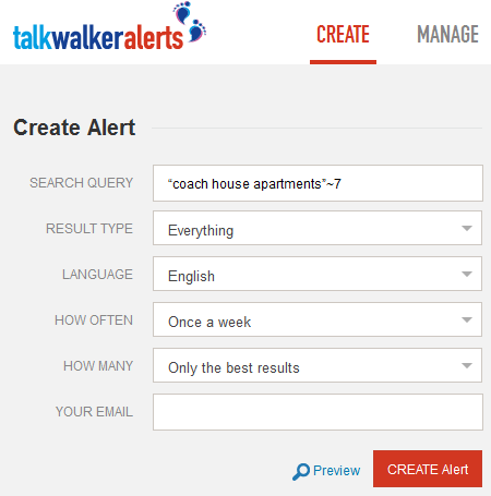 Screenshot of the Talkwalker Alerts tool, showing the fields available to filter the Boolean search query results, such as Result type, language, how often, and how many.