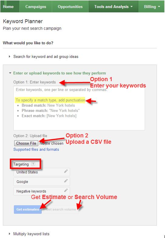 A screenshot of the Google Keyword Planner Tool selecting the upload keyword list feature