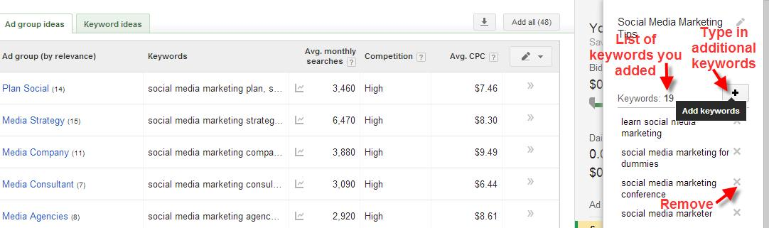 A screenshot of the Google Keyword Planner Tool showing how to view, add or remove keywords