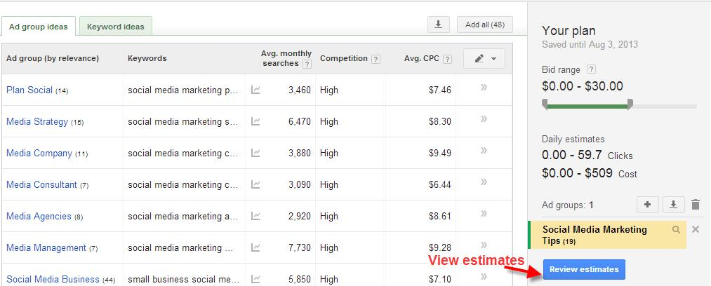 A screenshot of the Google Keyword Planner Tool showing how to view keyword estimates