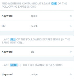 Screenshot of the social media monitoring tool, Mention, showing a query user interface where keywords are placed in separate fields for each Boolean search operator.