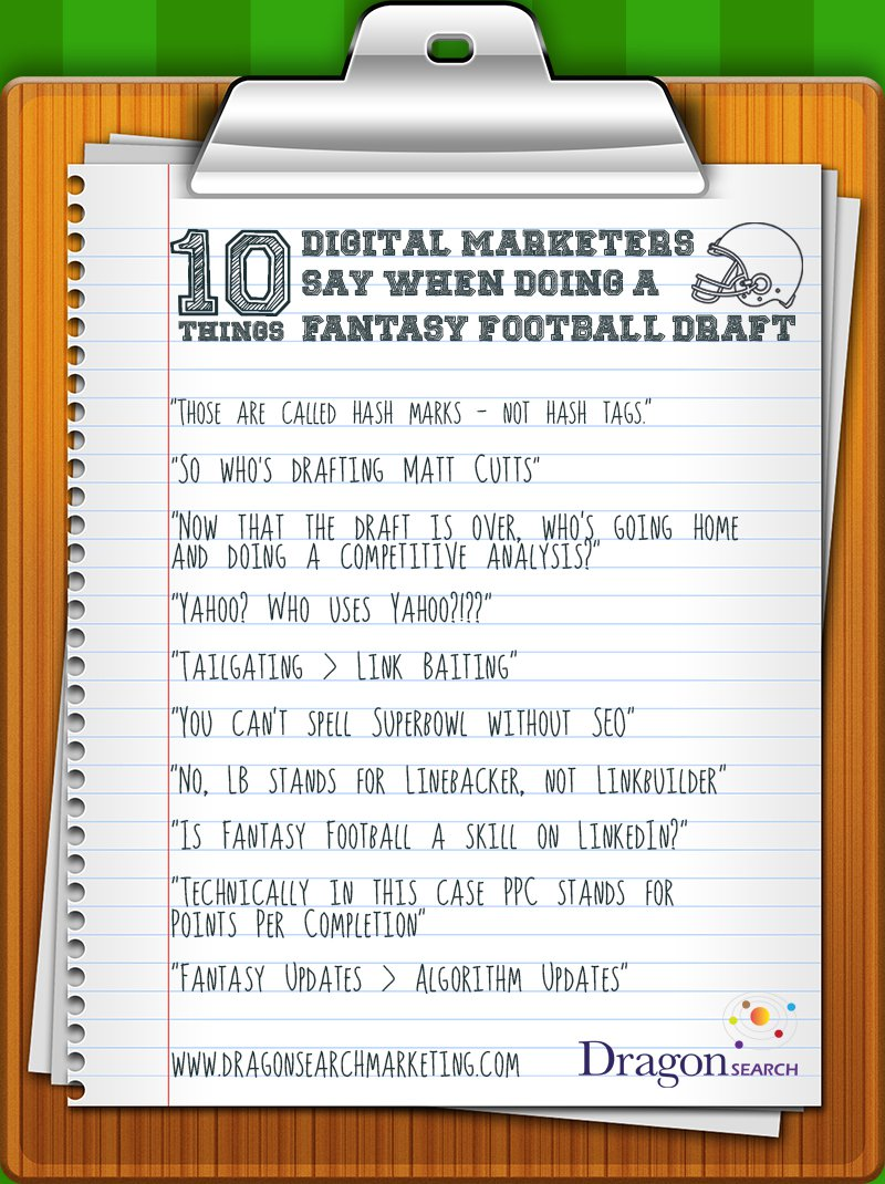 Graphic of a clipboard with fantasy football draft sayings on it