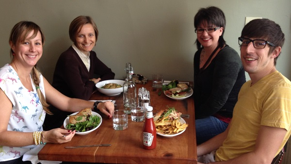 #SocialChat's Michelle Stinson Ross and DragonSearch's dragons breaking bread.