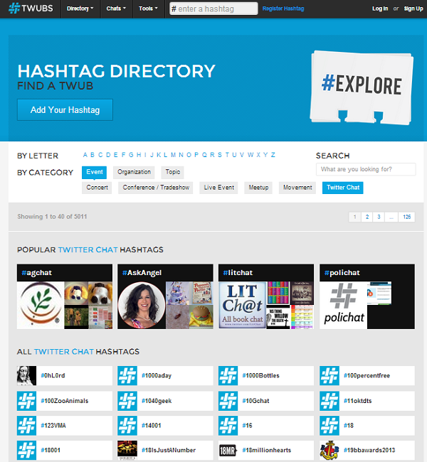 Twubs's hashtag directory screenshot.