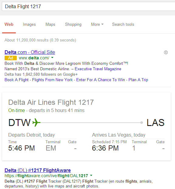 Google displaying flight info details in the search results pages.