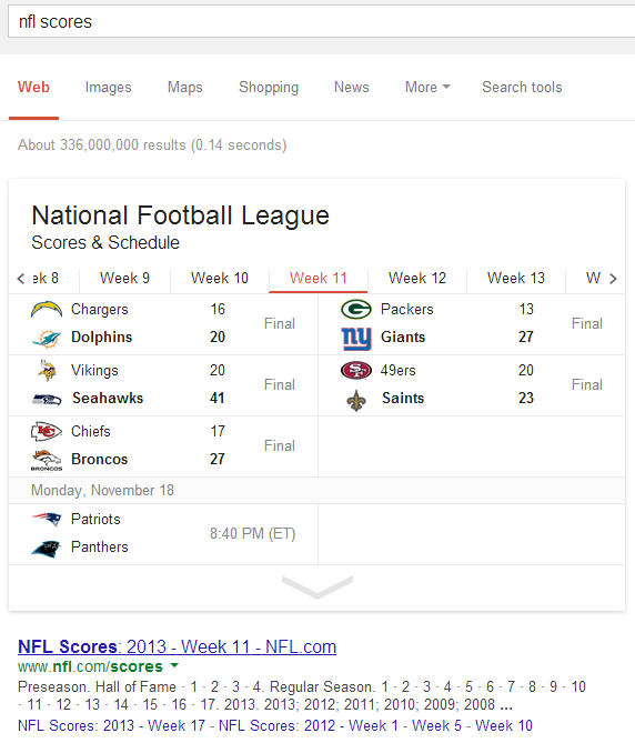 Thanks to Schema Google search results pages show the sports game scores.