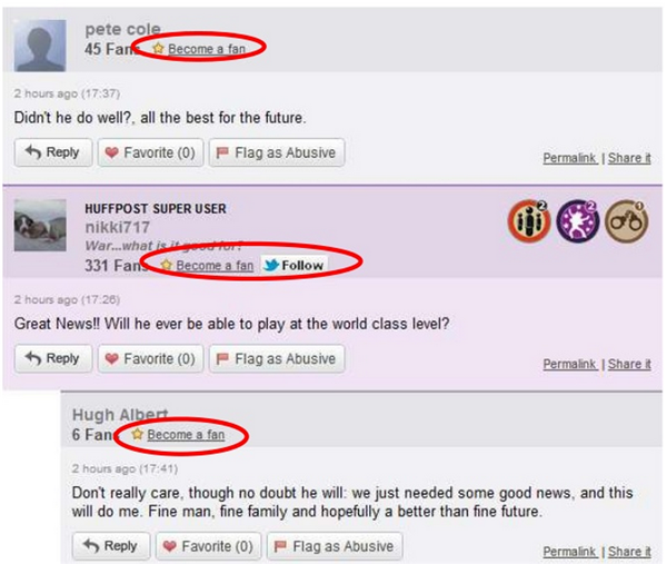 Image of how the commenting system is set up on Huffington Post to encourage engagement and blog commenting.