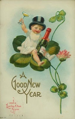 A vintage postcard that features a small child resting on the leaves of a plant having a celebratory glass of champagne for the New Year.