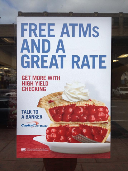 Capital One Bank advertising featured two slices of cherry pie.