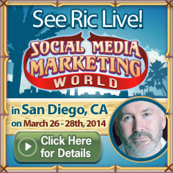 Promotional logo image for SMMW 2014 event in San Diego, California with Social Media Speaker Ric Dragon doing a presentation.