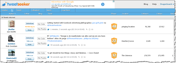 TweetSeeker user interface screenshot