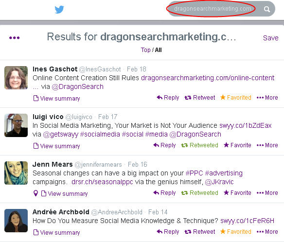 """Screen shot of a search for """"dragonsearchmarketing.com"""" on Twitter and the results of people who shared links from the website"""