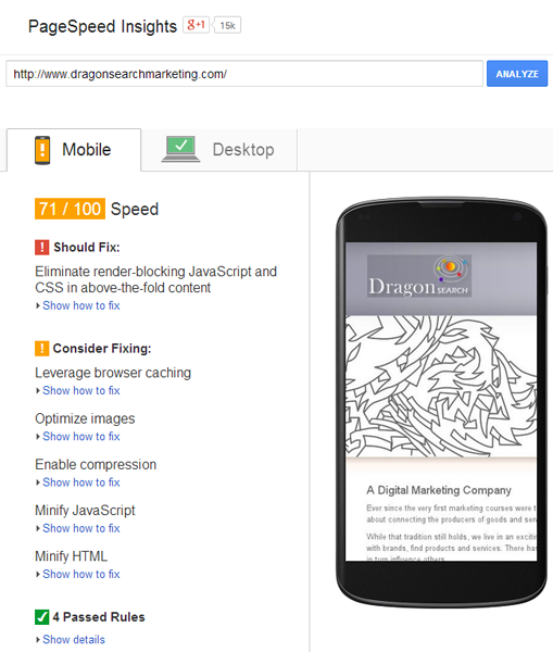 A screenshot of the Google Mobile PageSpeed Tool showing a phone and fixes for it