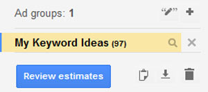 A screenshot showing the My Keywords Ideas review estimates button
