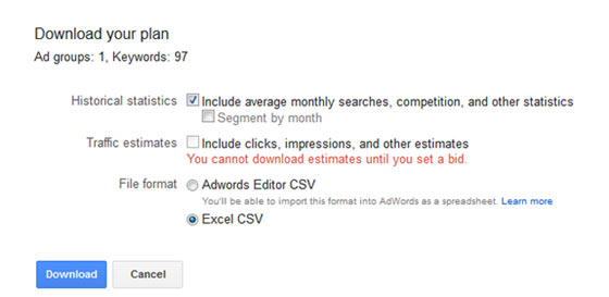 A screenshot showing how to download your keyword plan selecting from several options