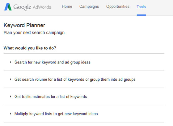 A screenshot of the Google Adwords Keyword Planner Tool