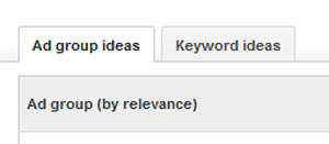 A screenshot showing Ad group ideas by relevance