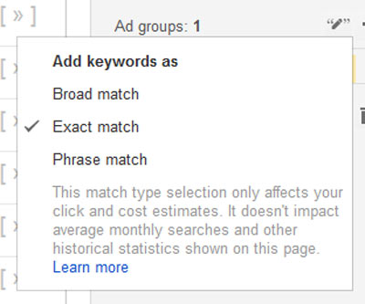 A screenshot showing the keyword planner tool selecting exact match