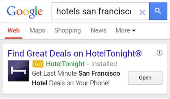 A screen shot showing hotel deal apps, a new AdWords feature