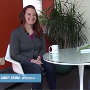 Cindy Krum is all smiles getting ready for her Marketology in Motion interview