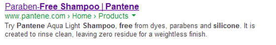 Screenshot of the rich snippet results for Pantene silicone free shampoo