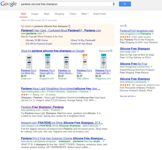 Screenshot showing search results for Pantene silicone free shampoo
