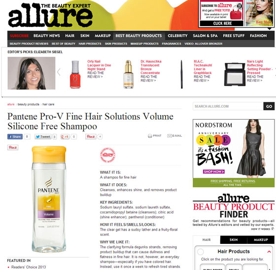 Screenshot of Allure webpage for Pantene silicone free shampoo