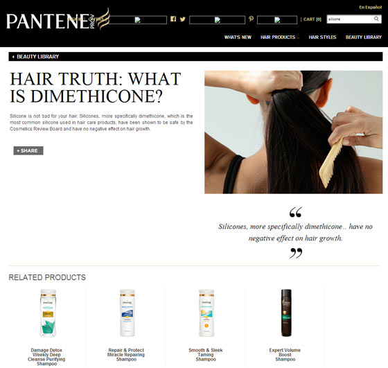 Screenshot of Pantene webpage showing truths about silicone