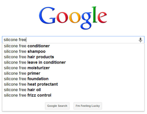 A screenshot showing Google Suggest for silicone free shampoo keywords