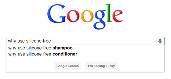 Google Suggest showing results for the question why use silicone free shampoo