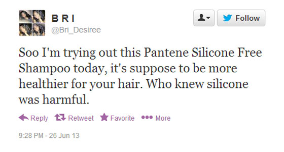 Screenshot of a tweet taking about silicone free shampoo