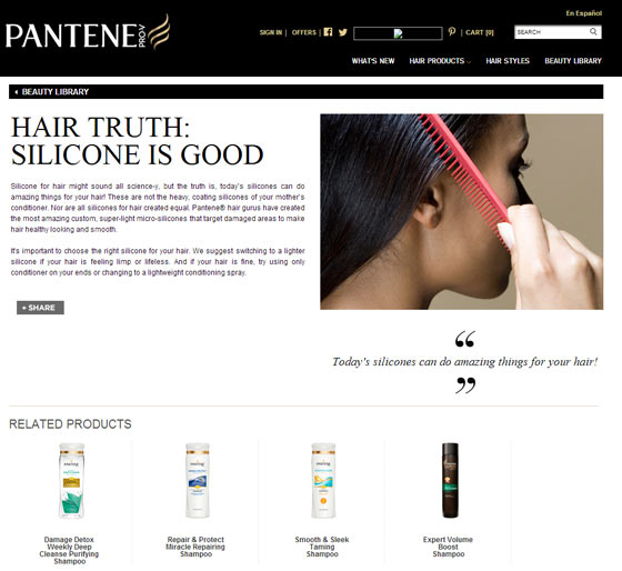 Screenshot of webpage for Pantene about silicone being good