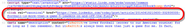 A screenshot showing the canonical tag code for LinkedIn
