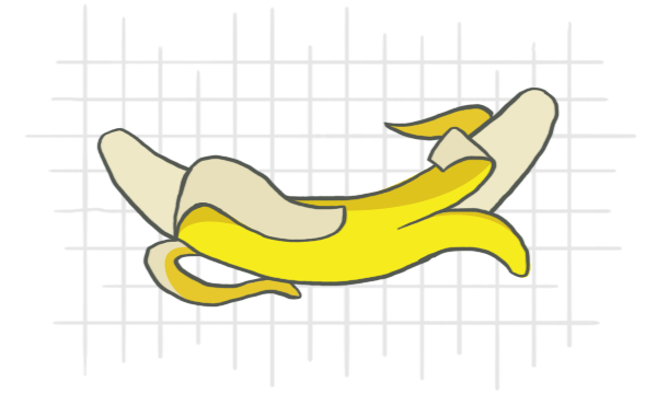 graphic of peeled banana