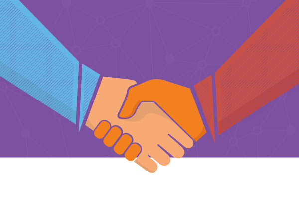 A drawing of two arms shaking hands on a purple background