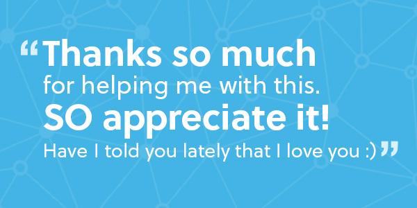 A quote showing client trust on a blue background