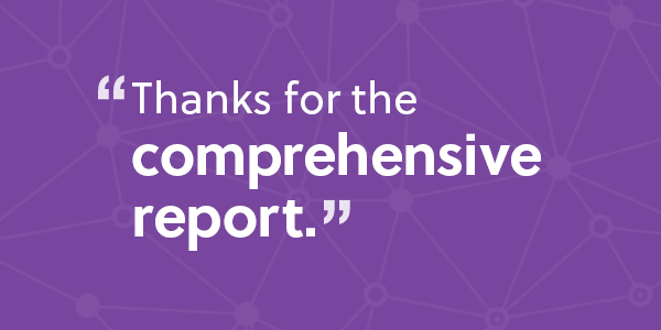 A quote in response to an SEO website audit report on a purple background