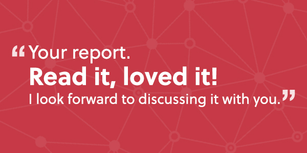 A quote in response to a website audit reports on a red background
