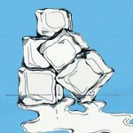 Close-up drawing of ice cubes melting set on a blue background