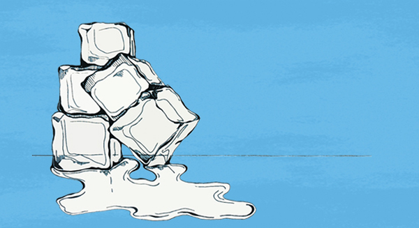 A stack of melting ice cubes set on a blue background