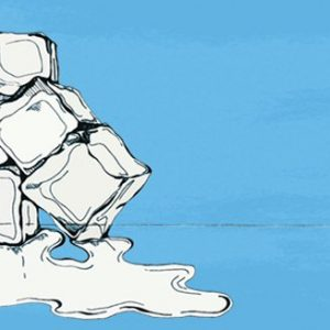 A drawing of ice cubes melting on a blue background