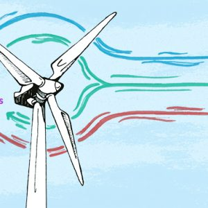 A drawing of a wind turbine used as a metaphor for social media strategy including branding, audience, content and conversions