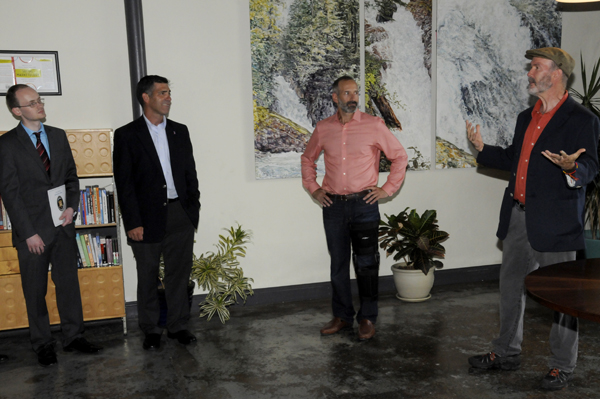 Ric Dragon, along with Don Tallerman, Mike Hein and Tim Distel, speaking at the ribbon cutting ceremony