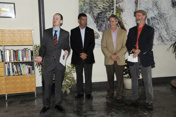Tim Distel, Mike Hein, Shayne Gallo and Ric Dragon speaking at the ribbon cutting ceremony
