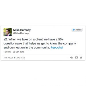 A tweet about local SEO from Mike Ramsey