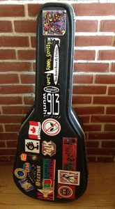 Stickers on a guitar case