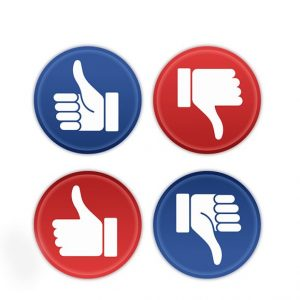 Red and blue social media thumbs up and thumbs down