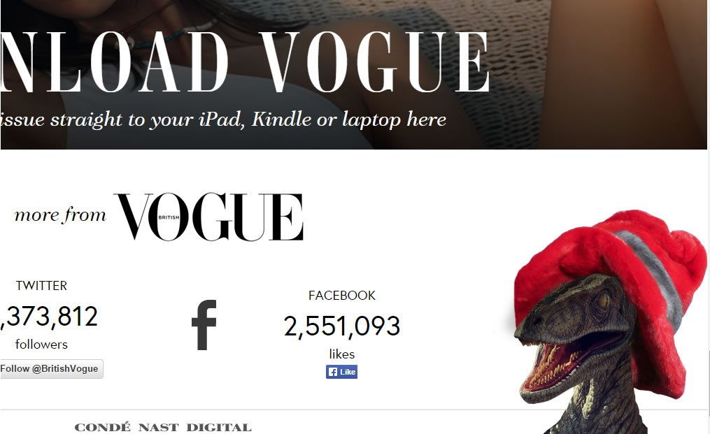 raptors in fashionable hats appear after the Konami Code in the Vogue UK website.