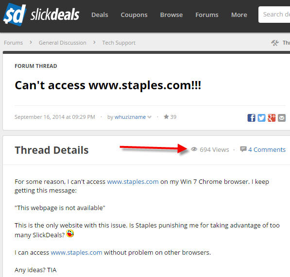 Managing customer complaints for Staples on forums